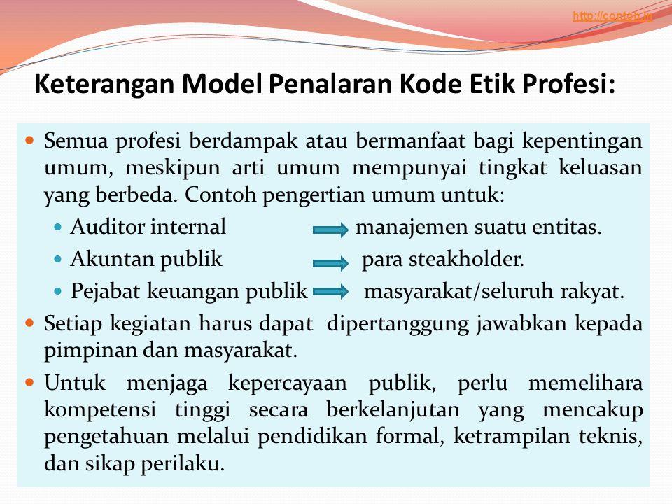 Keterangan Model Penalaran Kode Etik Profesi:  Semua profesi berdampak atau bermanfaat bagi kepentingan umum, meskipun arti umum mempunyai tingkat ke