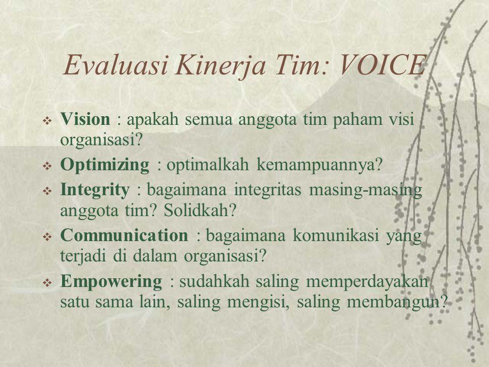 Evaluasi Kinerja Tim: VOICE  Vision : apakah semua anggota tim paham visi organisasi.