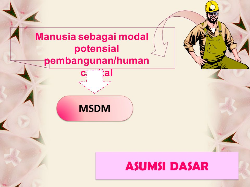 ASUMSI DASAR ASUMSI DASAR Manusia sebagai modal potensial pembangunan/human capital MSDM
