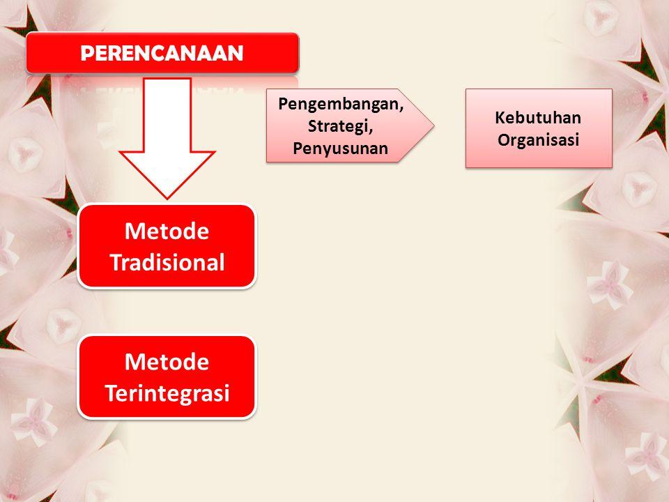 Pengembangan, Strategi, Penyusunan Kebutuhan Organisasi Metode Tradisional Metode Tradisional Metode Terintegrasi Metode Terintegrasi