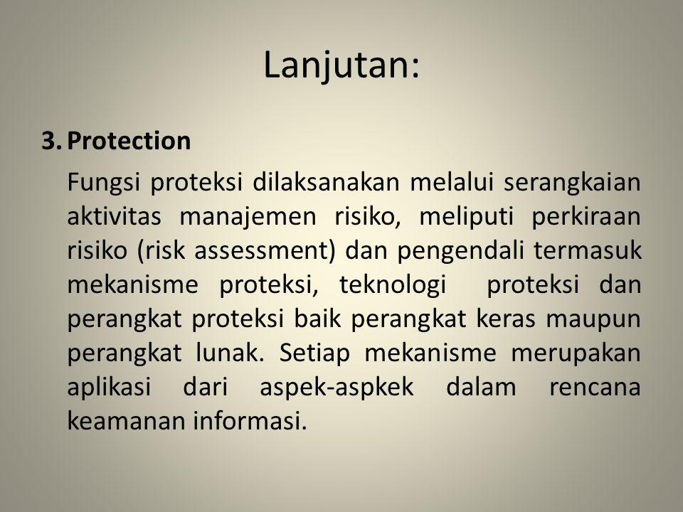 Lanjutan: 3.Protection Fungsi proteksi dilaksanakan melalui serangkaian aktivitas manajemen risiko, meliputi perkiraan risiko (risk assessment) dan pe