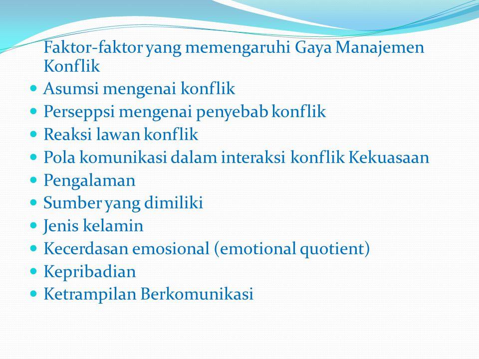 Faktor-faktor yang memengaruhi Gaya Manajemen Konflik  Asumsi mengenai konflik  Perseppsi mengenai penyebab konflik  Reaksi lawan konflik  Pola ko