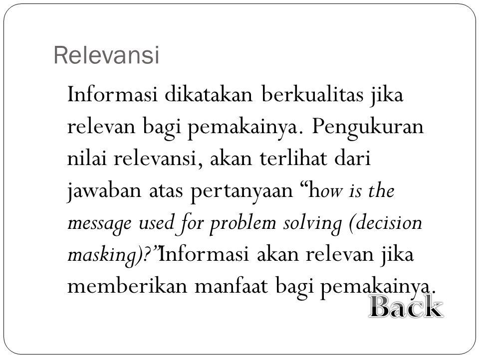 Relevansi Informasi dikatakan berkualitas jika relevan bagi pemakainya.