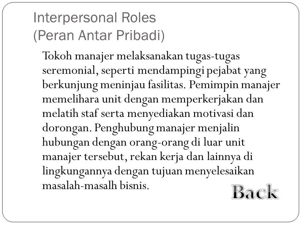 Interpersonal Roles (Peran Antar Pribadi) Tokoh manajer melaksanakan tugas-tugas seremonial, seperti mendampingi pejabat yang berkunjung meninjau fasilitas.