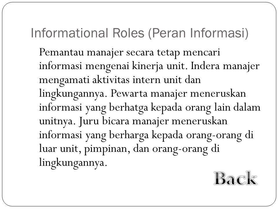 Informational Roles (Peran Informasi) Pemantau manajer secara tetap mencari informasi mengenai kinerja unit. Indera manajer mengamati aktivitas intern