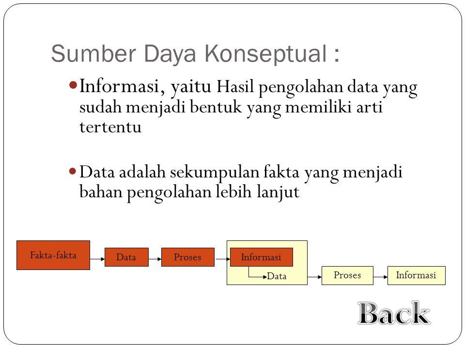 Sumber Daya Konseptual :  Informasi, yaitu Hasil pengolahan data yang sudah menjadi bentuk yang memiliki arti tertentu  Data adalah sekumpulan fakta yang menjadi bahan pengolahan lebih lanjut Data Fakta-fakta Proses Informasi Proses Data Informasi