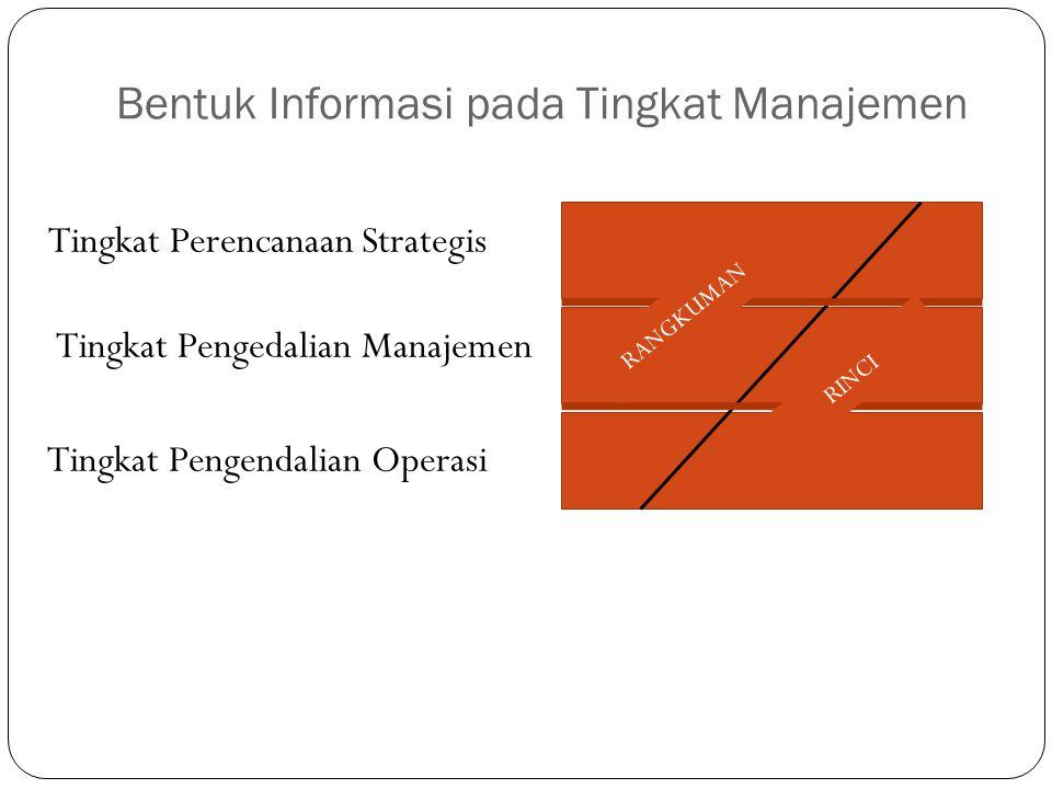 Bentuk Informasi pada Tingkat Manajemen Tingkat Perencanaan Strategis Tingkat Pengedalian Manajemen Tingkat Pengendalian Operasi RANGKUMAN RINCI