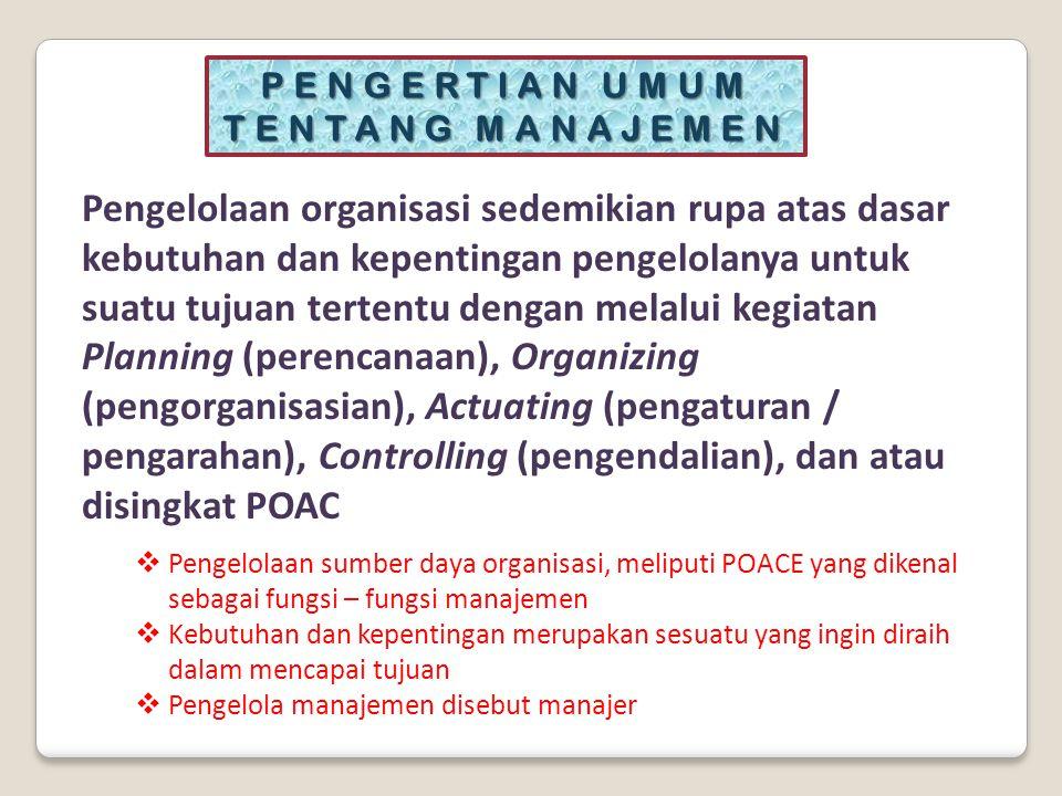  Penggunaan sumber daya organisasi, baik sumber daya manusia, maupun faktor-faktor produksi lainnya.