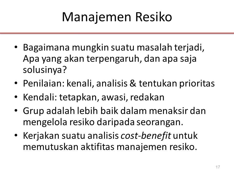 Manajemen Resiko • Bagaimana mungkin suatu masalah terjadi, Apa yang akan terpengaruh, dan apa saja solusinya.