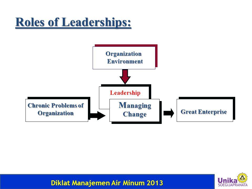 Diklat Manajemen Air Minum 2013 Organization Environment Environment Chronic Problems of Organization Leadership M anaging Change Great Enterprise Rol