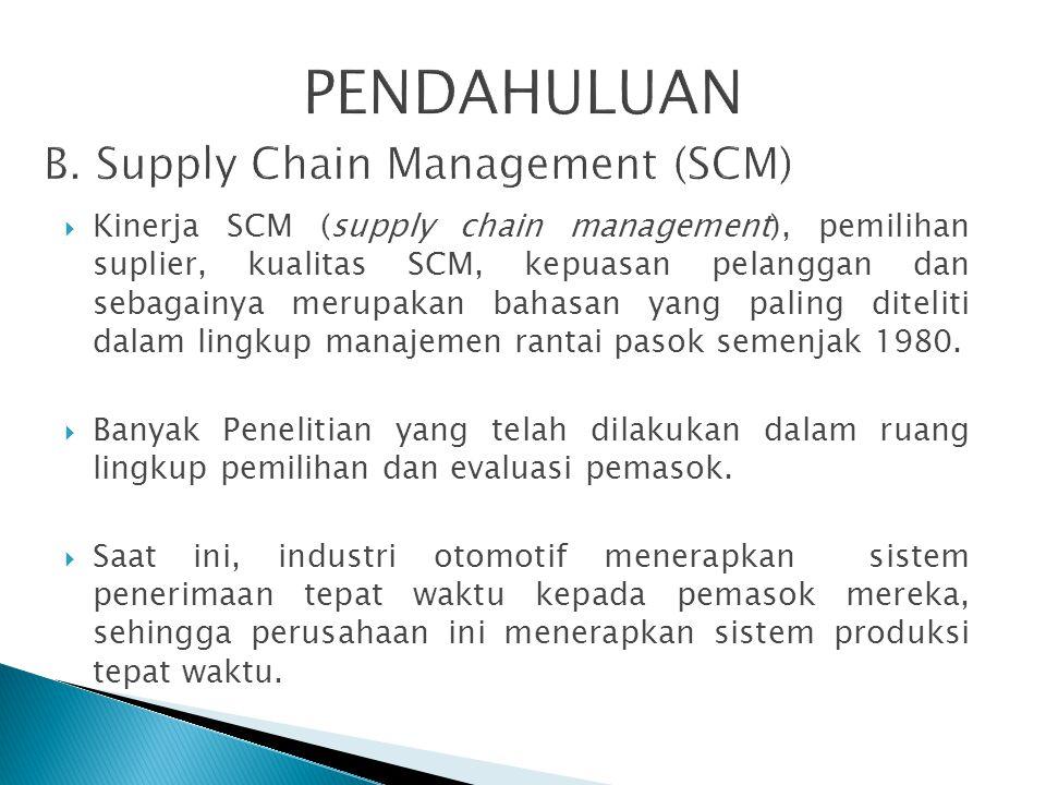  Kinerja SCM (supply chain management), pemilihan suplier, kualitas SCM, kepuasan pelanggan dan sebagainya merupakan bahasan yang paling diteliti dal