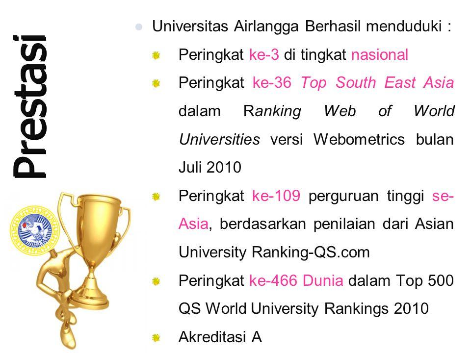 Prestasi  Universitas Airlangga Berhasil menduduki : Peringkat ke-3 di tingkat nasional Peringkat ke-36 Top South East Asia dalam Ranking Web of World Universities versi Webometrics bulan Juli 2010 Peringkat ke-109 perguruan tinggi se- Asia, berdasarkan penilaian dari Asian University Ranking-QS.com Peringkat ke-466 Dunia dalam Top 500 QS World University Rankings 2010 Akreditasi A  Universitas Airlangga Berhasil menduduki : Peringkat ke-3 di tingkat nasional Peringkat ke-36 Top South East Asia dalam Ranking Web of World Universities versi Webometrics bulan Juli 2010 Peringkat ke-109 perguruan tinggi se- Asia, berdasarkan penilaian dari Asian University Ranking-QS.com Peringkat ke-466 Dunia dalam Top 500 QS World University Rankings 2010 Akreditasi A