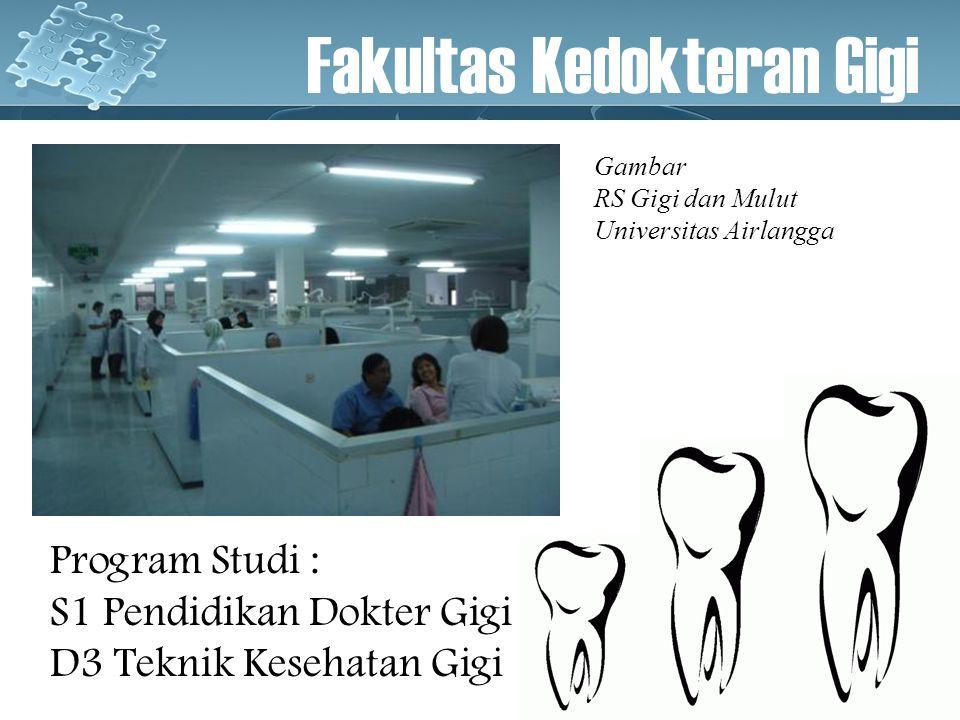 Program Studi : S1 Pendidikan Dokter Gigi D3 Teknik Kesehatan Gigi Fakultas Kedokteran Gigi Gambar RS Gigi dan Mulut Universitas Airlangga