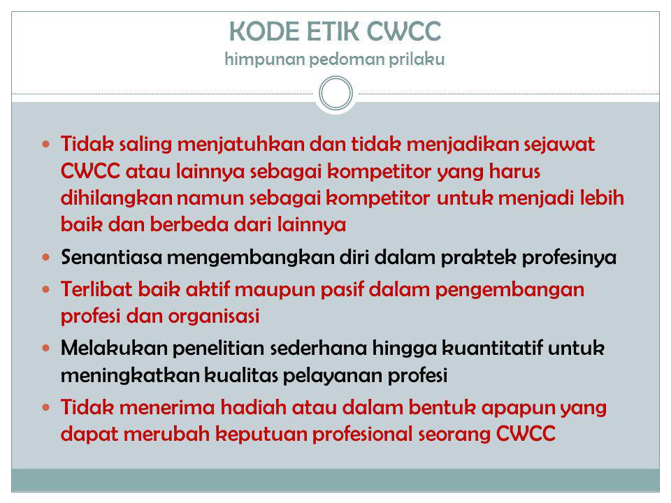 KODE ETIK CWCC himpunan pedoman prilaku  Tidak saling menjatuhkan dan tidak menjadikan sejawat CWCC atau lainnya sebagai kompetitor yang harus dihila