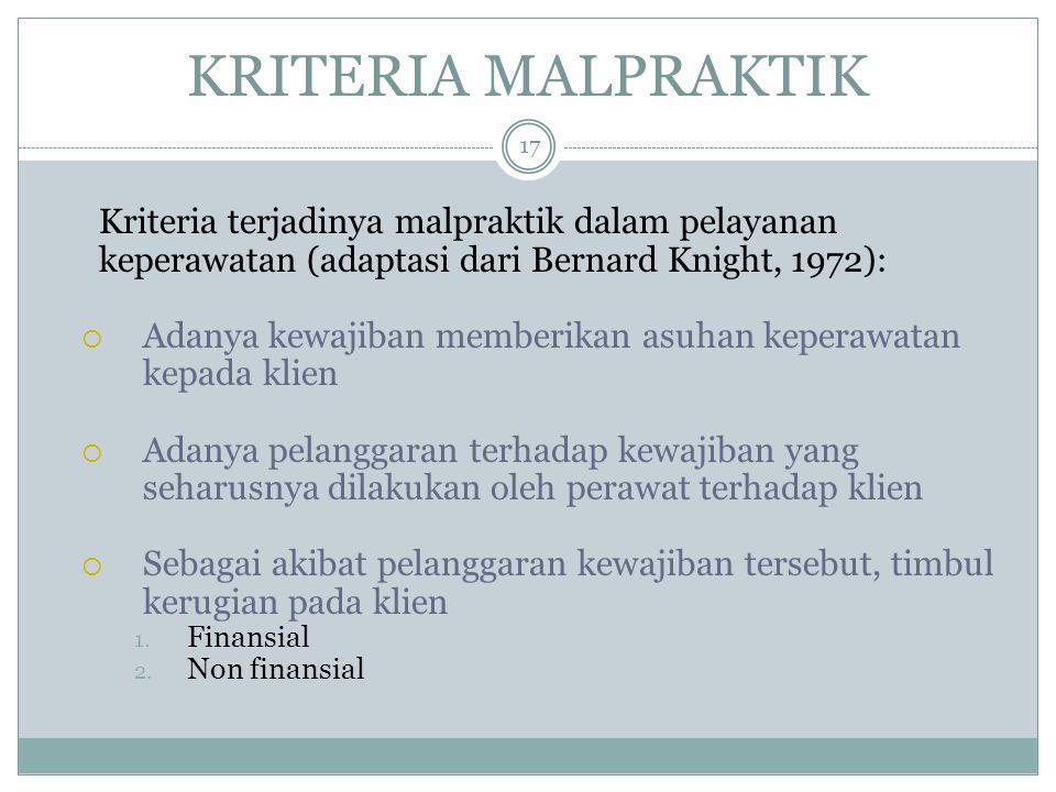 KRITERIA MALPRAKTIK 17 Kriteria terjadinya malpraktik dalam pelayanan keperawatan (adaptasi dari Bernard Knight, 1972):  Adanya kewajiban memberikan