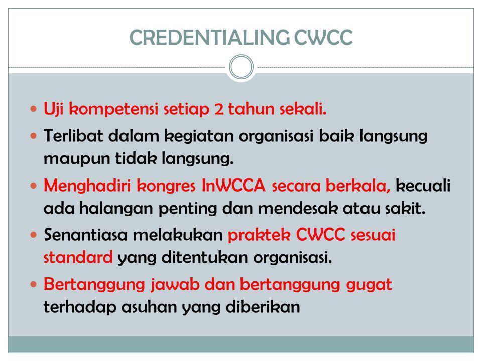 CREDENTIALING CWCC  Uji kompetensi setiap 2 tahun sekali.  Terlibat dalam kegiatan organisasi baik langsung maupun tidak langsung.  Menghadiri kong