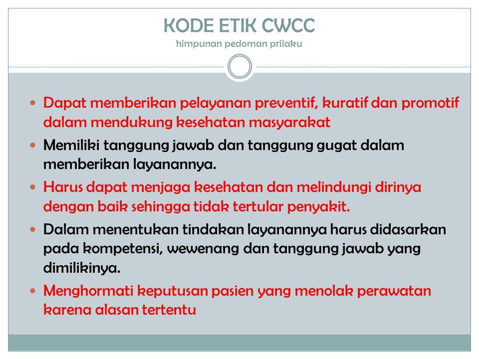 KODE ETIK CWCC himpunan pedoman prilaku  Dapat memberikan pelayanan preventif, kuratif dan promotif dalam mendukung kesehatan masyarakat  Memiliki t