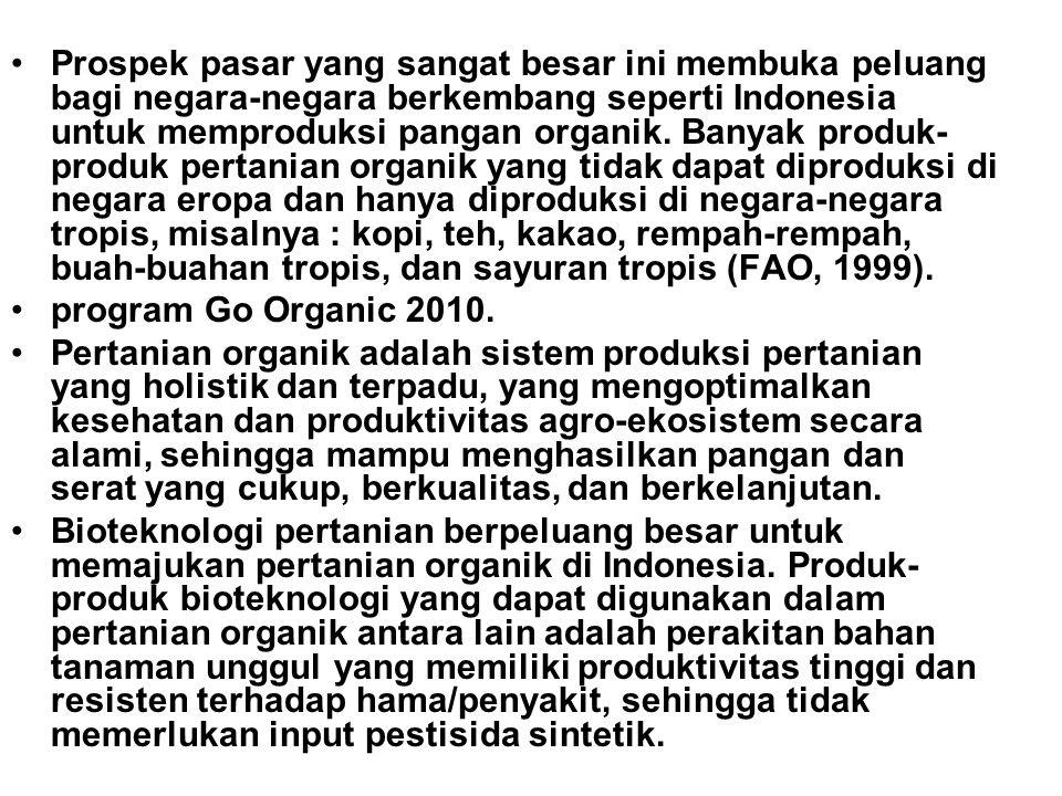 •Prospek pasar yang sangat besar ini membuka peluang bagi negara-negara berkembang seperti Indonesia untuk memproduksi pangan organik. Banyak produk-