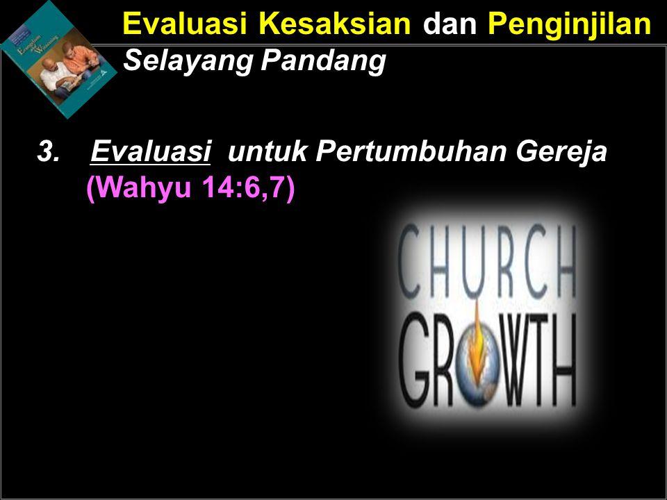 Evaluasi Kesaksian dan Penginjilan Selayang Pandang 3.Evaluasi untuk Pertumbuhan Gereja (Wahyu 14:6,7)