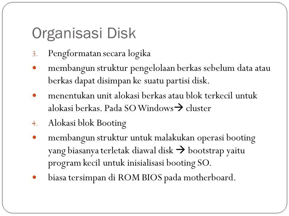 Organisasi Disk 3. Pengformatan secara logika  membangun struktur pengelolaan berkas sebelum data atau berkas dapat disimpan ke suatu partisi disk. 