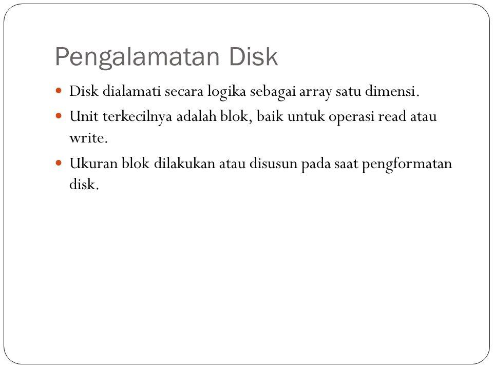 Pengalamatan Disk  Disk dialamati secara logika sebagai array satu dimensi.  Unit terkecilnya adalah blok, baik untuk operasi read atau write.  Uku