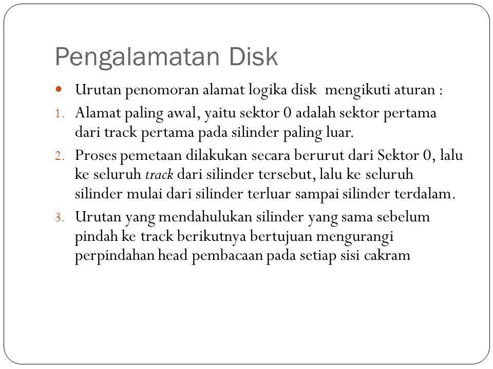 Pengalamatan Disk  Urutan penomoran alamat logika disk mengikuti aturan : 1. Alamat paling awal, yaitu sektor 0 adalah sektor pertama dari track pert