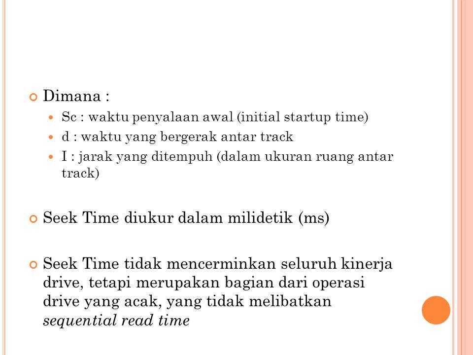 Dimana :  Sc : waktu penyalaan awal (initial startup time)  d : waktu yang bergerak antar track  I : jarak yang ditempuh (dalam ukuran ruang antar