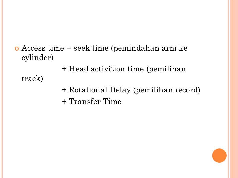 Access time = seek time (pemindahan arm ke cylinder) + Head activition time (pemilihan track) + Rotational Delay (pemilihan record) + Transfer Time