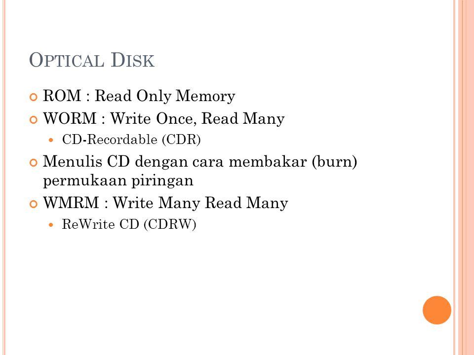 O PTICAL D ISK ROM : Read Only Memory WORM : Write Once, Read Many  CD-Recordable (CDR) Menulis CD dengan cara membakar (burn) permukaan piringan WMR