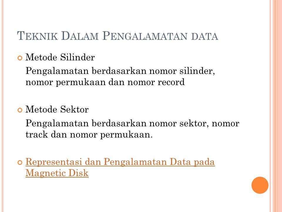 T EKNIK D ALAM P ENGALAMATAN DATA Metode Silinder Pengalamatan berdasarkan nomor silinder, nomor permukaan dan nomor record Metode Sektor Pengalamatan