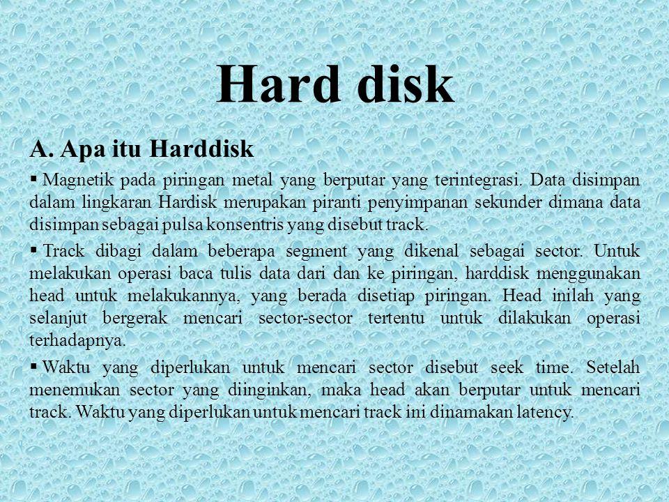 Hard disk A. Apa itu Harddisk  Magnetik pada piringan metal yang berputar yang terintegrasi. Data disimpan dalam lingkaran Hardisk merupakan piranti