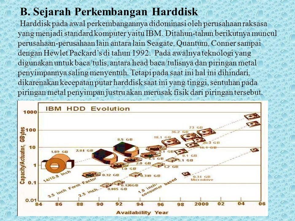 B. Sejarah Perkembangan Harddisk Harddisk pada awal perkembangannya didominasi oleh perusahaan raksasa yang menjadi standard komputer yaitu IBM. Ditah