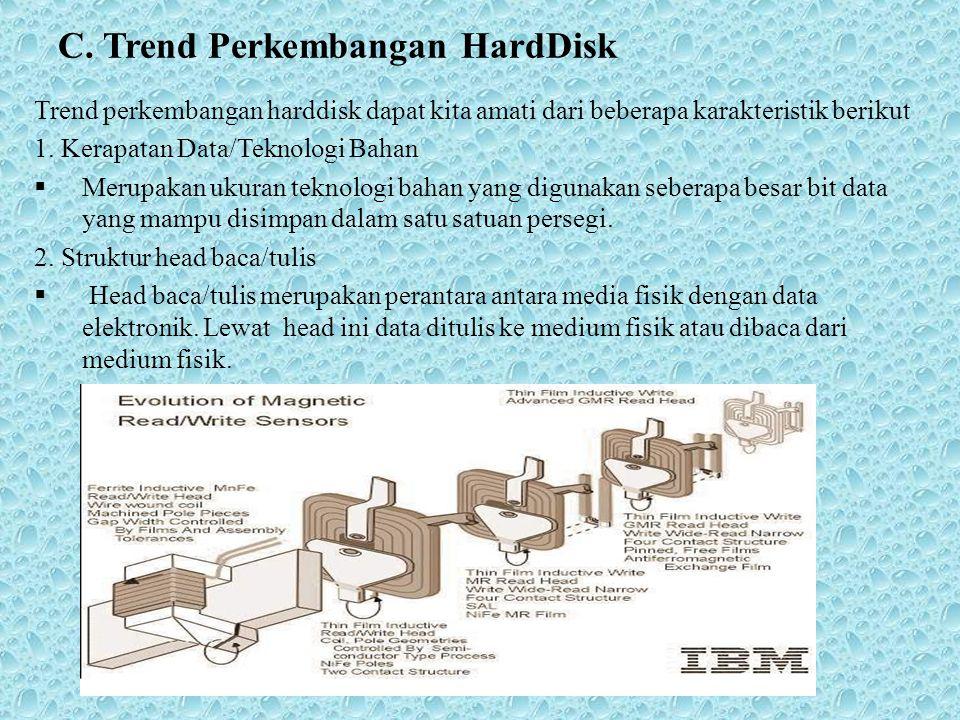 C. Trend Perkembangan HardDisk Trend perkembangan harddisk dapat kita amati dari beberapa karakteristik berikut 1. Kerapatan Data/Teknologi Bahan  Me