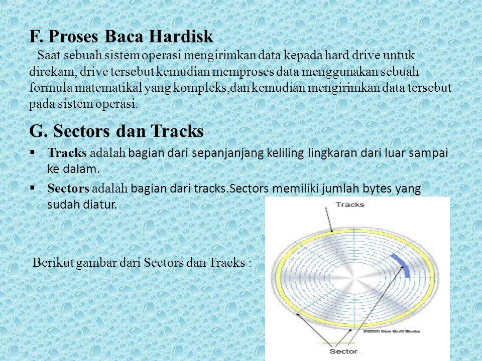 F. Proses Baca Hardisk Saat sebuah sistem operasi mengirimkan data kepada hard drive untuk direkam, drive tersebut kemudian memproses data menggunakan