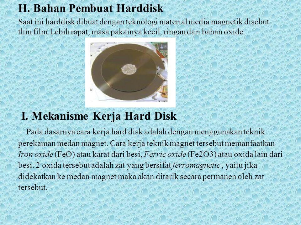 H. Bahan Pembuat Harddisk Saat ini harddisk dibuat dengan teknologi material media magnetik disebut thin film.Lebih rapat, masa pakainya kecil, ringan