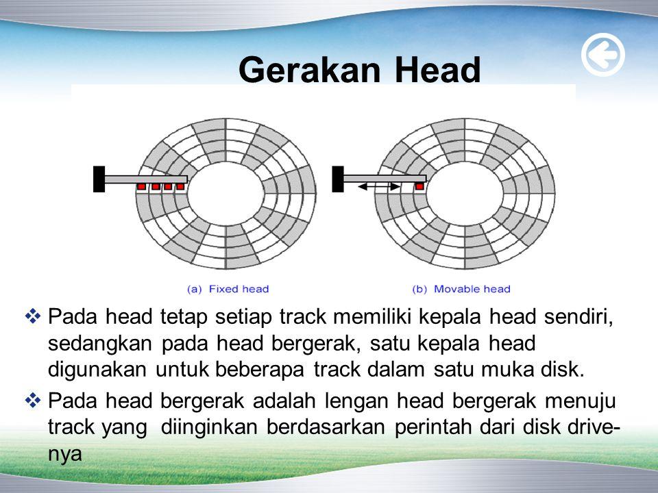 Gerakan Head  Pada head tetap setiap track memiliki kepala head sendiri, sedangkan pada head bergerak, satu kepala head digunakan untuk beberapa track dalam satu muka disk.