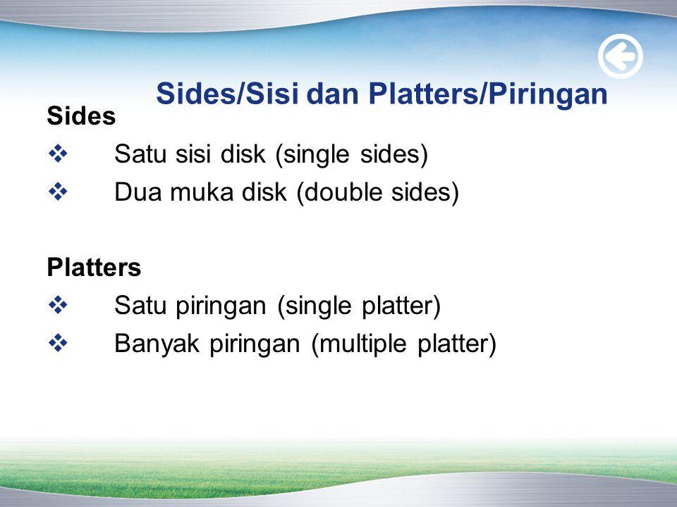 Sides/Sisi dan Platters/Piringan Sides  Satu sisi disk (single sides)  Dua muka disk (double sides) Platters  Satu piringan (single platter)  Banyak piringan (multiple platter)