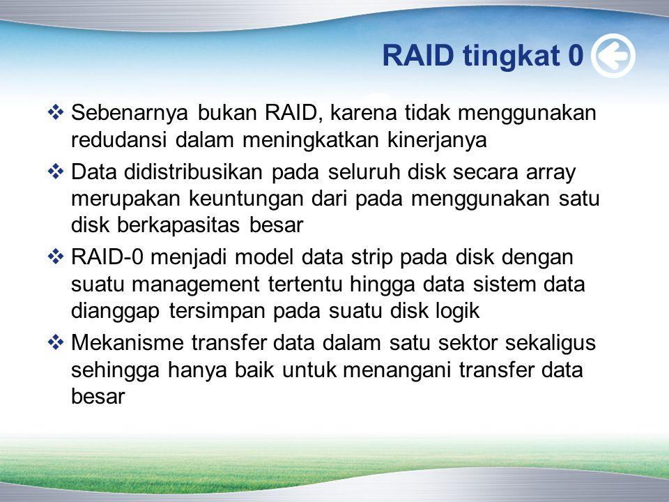 RAID tingkat 0  Sebenarnya bukan RAID, karena tidak menggunakan redudansi dalam meningkatkan kinerjanya  Data didistribusikan pada seluruh disk secara array merupakan keuntungan dari pada menggunakan satu disk berkapasitas besar  RAID-0 menjadi model data strip pada disk dengan suatu management tertentu hingga data sistem data dianggap tersimpan pada suatu disk logik  Mekanisme transfer data dalam satu sektor sekaligus sehingga hanya baik untuk menangani transfer data besar