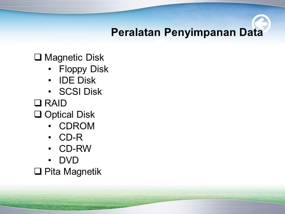 Peralatan Penyimpanan Data  Magnetic Disk •Floppy Disk •IDE Disk •SCSI Disk  RAID  Optical Disk •CDROM •CD-R •CD-RW •DVD  Pita Magnetik