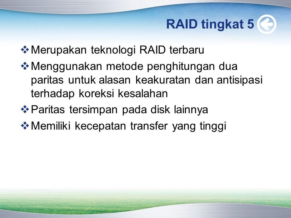 RAID tingkat 5  Merupakan teknologi RAID terbaru  Menggunakan metode penghitungan dua paritas untuk alasan keakuratan dan antisipasi terhadap koreksi kesalahan  Paritas tersimpan pada disk lainnya  Memiliki kecepatan transfer yang tinggi
