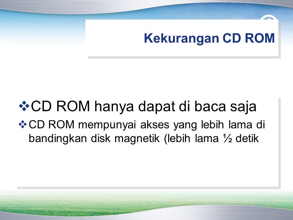 Kekurangan CD ROM  CD ROM hanya dapat di baca saja  CD ROM mempunyai akses yang lebih lama di bandingkan disk magnetik (lebih lama ½ detik  CD ROM hanya dapat di baca saja  CD ROM mempunyai akses yang lebih lama di bandingkan disk magnetik (lebih lama ½ detik