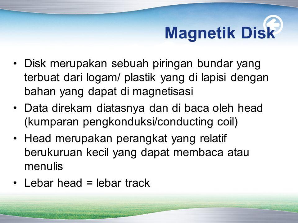 Magnetik Disk •Disk merupakan sebuah piringan bundar yang terbuat dari logam/ plastik yang di lapisi dengan bahan yang dapat di magnetisasi •Data direkam diatasnya dan di baca oleh head (kumparan pengkonduksi/conducting coil) •Head merupakan perangkat yang relatif berukuruan kecil yang dapat membaca atau menulis •Lebar head = lebar track