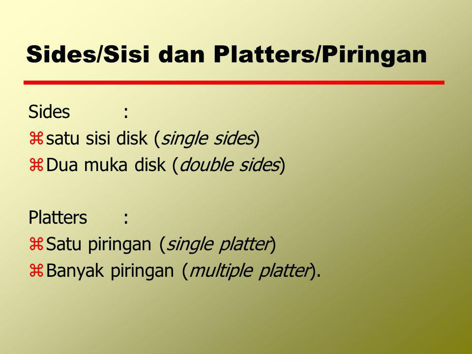 Sides/Sisi dan Platters/Piringan Sides : zsatu sisi disk (single sides) zDua muka disk (double sides) Platters : zSatu piringan (single platter) zBany