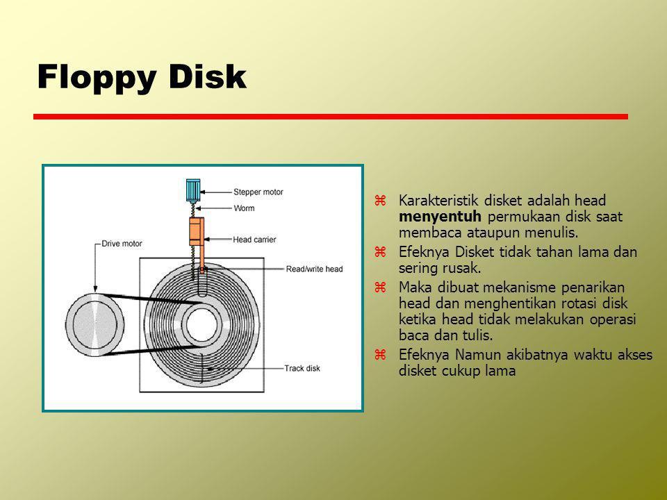 Floppy Disk zKarakteristik disket adalah head menyentuh permukaan disk saat membaca ataupun menulis. zEfeknya Disket tidak tahan lama dan sering rusak