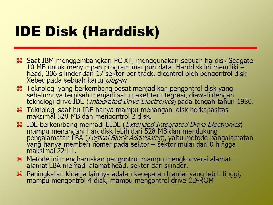 IDE Disk (Harddisk) zSaat IBM menggembangkan PC XT, menggunakan sebuah hardisk Seagate 10 MB untuk menyimpan program maupun data. Harddisk ini memilik