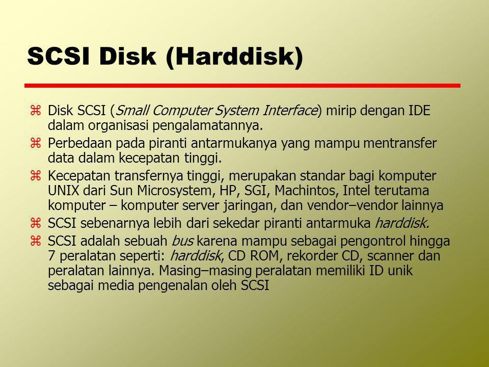 SCSI Disk (Harddisk) zDisk SCSI (Small Computer System Interface) mirip dengan IDE dalam organisasi pengalamatannya. zPerbedaan pada piranti antarmuka