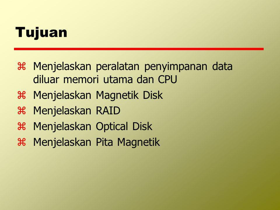 Tujuan zMenjelaskan peralatan penyimpanan data diluar memori utama dan CPU zMenjelaskan Magnetik Disk zMenjelaskan RAID zMenjelaskan Optical Disk zMen