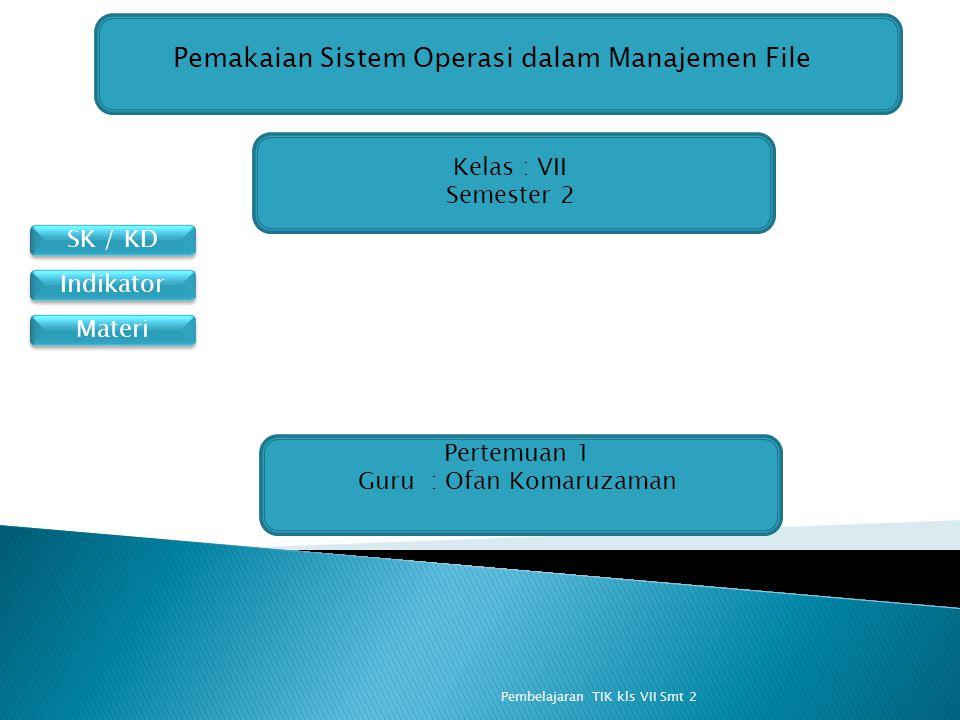 SK / KD Materi Indikator Pemakaian Sistem Operasi dalam Manajemen File Kelas : VII Semester 2 Pertemuan 1 Guru : Ofan Komaruzaman Pembelajaran TIK kls