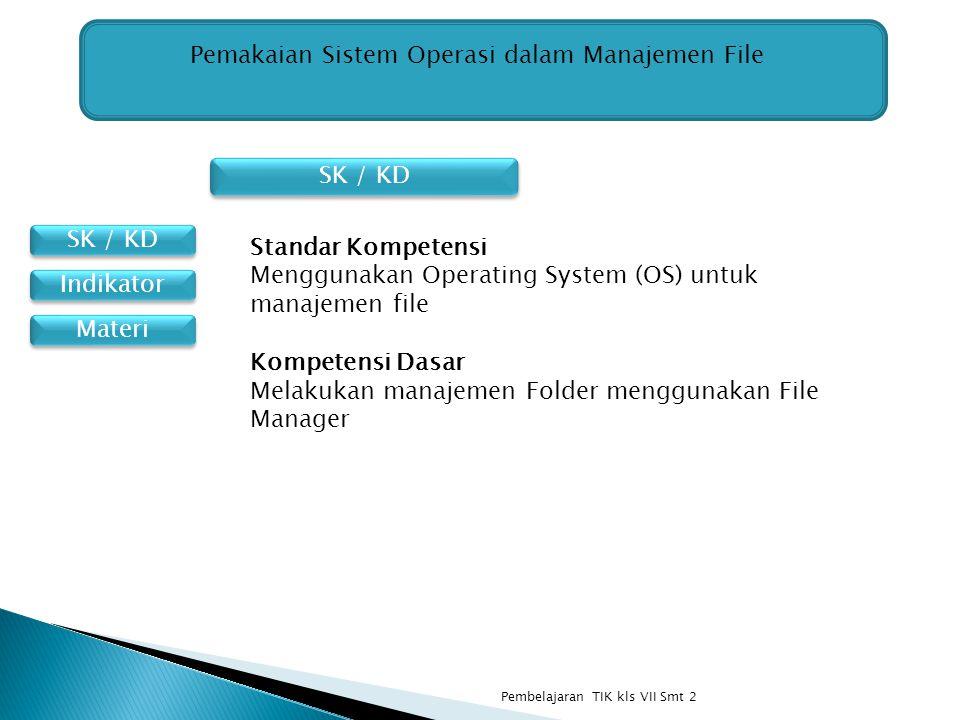SK / KD Materi Indikator Pemakaian Sistem Operasi dalam Manajemen File Standar Kompetensi Menggunakan Operating System (OS) untuk manajemen file Kompe