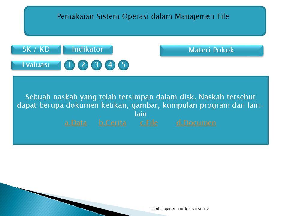 SK / KD Indikator Pemakaian Sistem Operasi dalam Manajemen File Materi Pokok Evaluasi Sebuah naskah yang telah tersimpan dalam disk. Naskah tersebut d